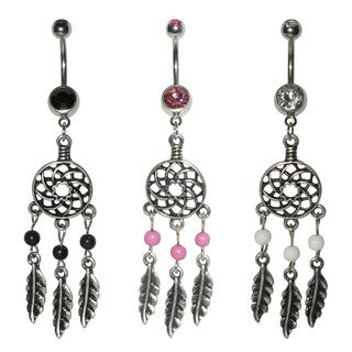 Supreme Jewelry Surgical Steel Dream Catcher Belly Rings (Pack of 3)