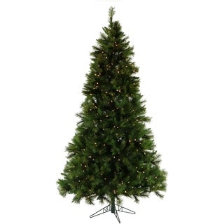 fraser hill farm green plasticmetal 9 foot canyon pine christmas tree with clear - 9 Foot Christmas Tree