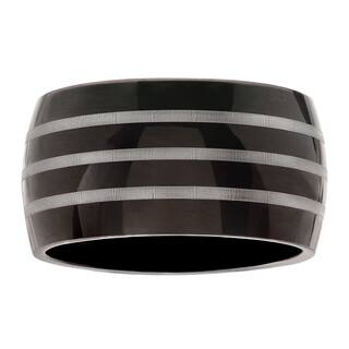 Territory Stainless Steel Black and Silver Wide Band|https://ak1.ostkcdn.com/images/products/12320066/P19152988.jpg?impolicy=medium