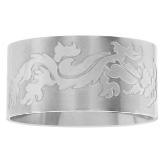 Territory Stainless Steel Etched Dragon Wide Band