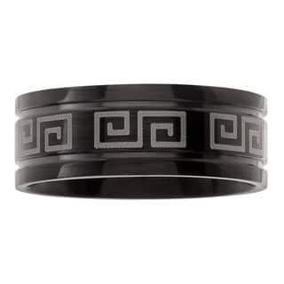 Territory Stainless Steel Greek Key Black Band|https://ak1.ostkcdn.com/images/products/12320081/P19152992.jpg?impolicy=medium