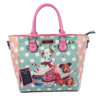 Nicole Lee Cupcake Dog Print Tote Bag