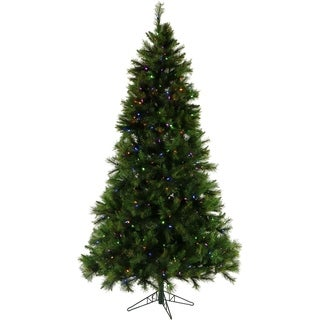 Fraser Hill Farm 12-foot Canyon Pine Christmas Tree with Multi-color LED String Lighting