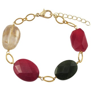 Luxiro Gold Finish Jade and Rutilated Quartz Semi-precious Gemstone Bracelet