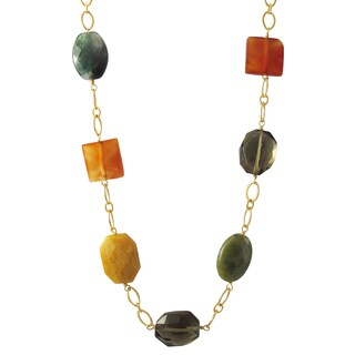 Luxiro Gold Finish Carnelian, Jade and Fancy Jasper Semi-precious Gemstone Necklace