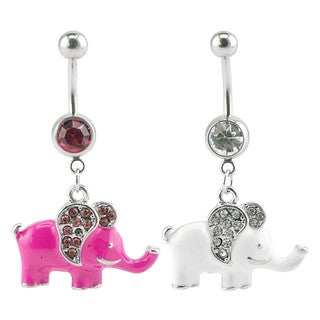 Supreme Jewelry Pink/White Elephant Belly Ring 2-Pack