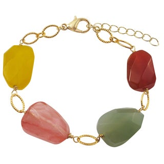 Luxiro Gold Finish Carnelian and Jade Semi-precious Gemstone Bracelet