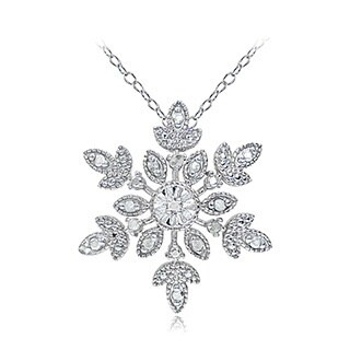 DB Designs Sterling Silver Diamond Accent Snowflake Necklace (Option: Gold Plate)