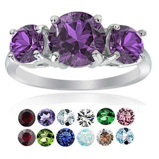 Glitzy Rocks Sterling Silver Gemstone Birthstone 3-Stone Ring (Option: April)