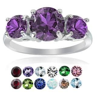 Glitzy Rocks Sterling Silver Gemstone Birthstone 3-Stone Ring|https://ak1.ostkcdn.com/images/products/12320245/P19153143.jpg?impolicy=medium