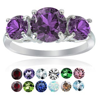 Glitzy Rocks Sterling Silver Gemstone Birthstone 3-Stone Ring (More options available)