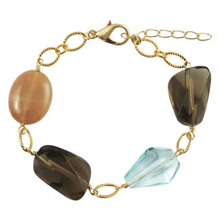 Luxiro Gold Finish Glass and Carnelian Semi-precious Gemstone Bracelet