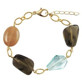 Luxiro Gold Finish Glass and Carnelian Semi-precious Gemstone Bracelet
