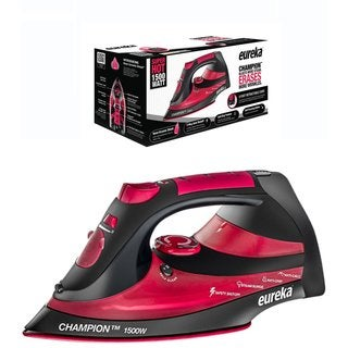 Eureka Champion Black/Red Super Hot 1500 Watt Powerful Steam Surge Technology Iron