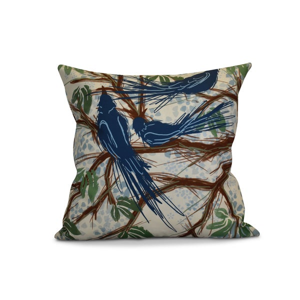 18 x 18-inch Jays, Floral Print Pillow