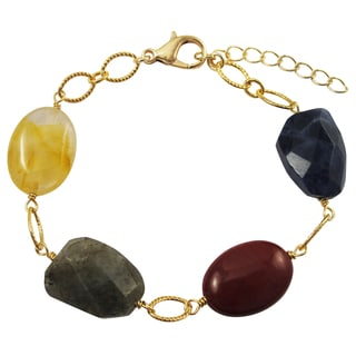 Luxiro Gold Finish Citrine and Jasper Semi-precious Gemstone Bracelet