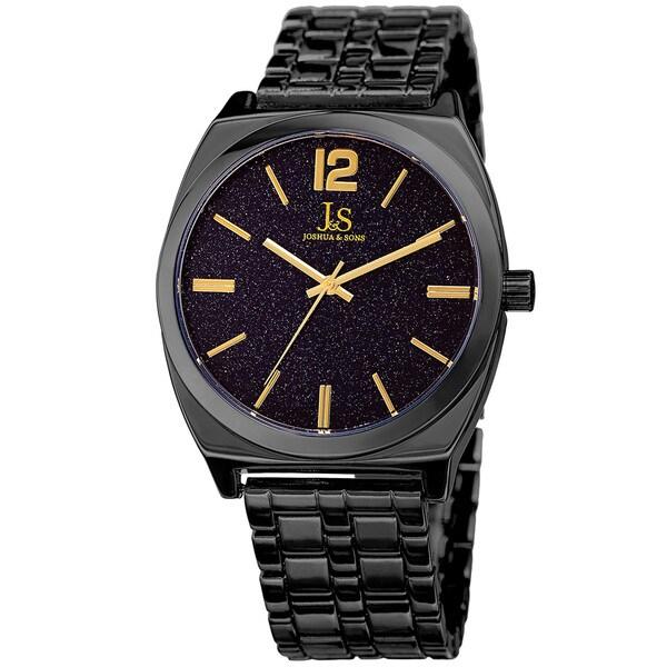 Joshua & Sons Men's Quartz Easy-to-Read Black Bracelet Watch