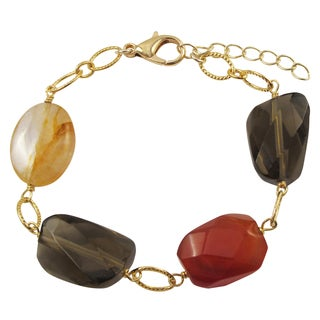 Luxiro Gold Finish Carnelian and Citrine Semi-precious Gemstone Bracelet