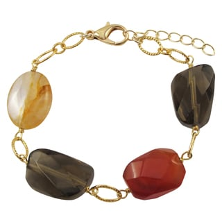 Luxiro Gold Finish Carnelian and Citrine Semi-precious Gemstone Bracelet