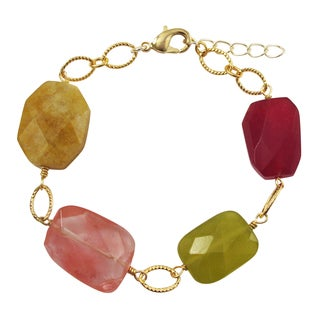 Luxiro Gold Finish Honey Jade and Serpentine Semi-precious Gemstone Bracelet