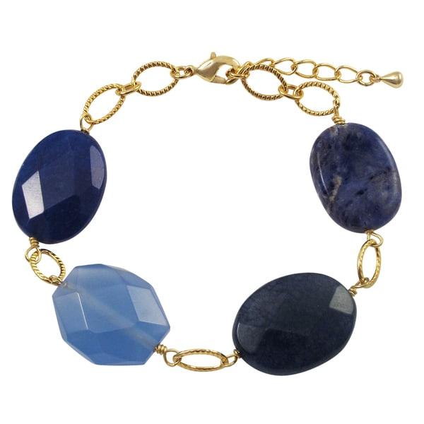 Luxiro Gold Finish Blue Jade and Sodalite Semi-precious Gemstone Bracelet