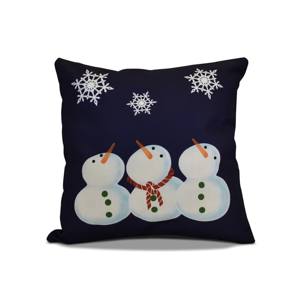 18 x 18-inch, 3 Wise Snowmen, Holiday Geometric Print Pillow