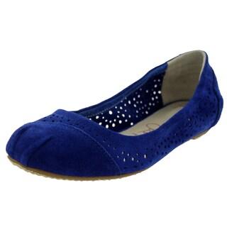 Toms Women's Ballet Flats Cutout Blue Moroccan Casual Shoe