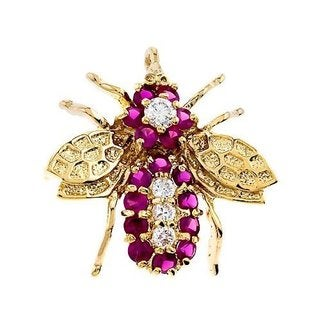Collette Z Gold Overlay Cubic Zirconia Bug Pin