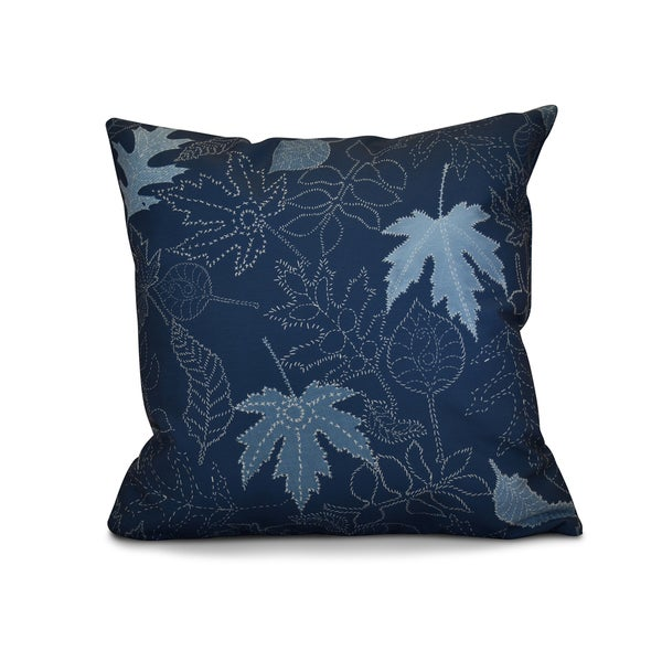 18 x 18-inch, Dotted Leaves, Floral Print Pillow