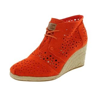 Toms Women's Desert Wedges Orange Moroccan Casual Shoe