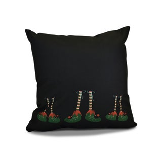 18 x 18-inch, Elfin Magic, Geometric Holiday Print Outdoor Pillow