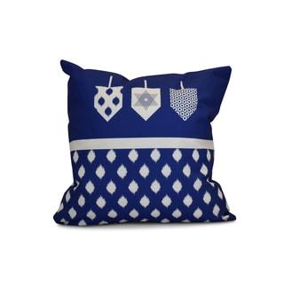 18 x 18-inch, Dreidels, Geometric Holiday Print Pillow