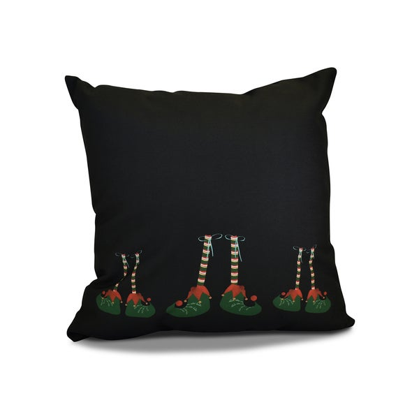 18 x 18-inch, Elfin Magic, Geometric Holiday Print Pillow