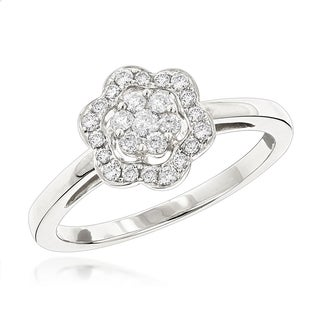 Luxurman Flower Diamond Rings: 14K Gold Ladies Diamond Cluster Ring 0.40ct (G-H; SI1-SI2)