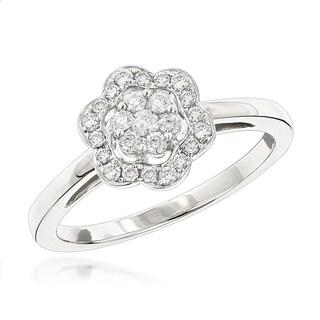 Luxurman Flower Diamond Rings: 14K Gold Ladies Diamond Cluster Ring 0.40ct