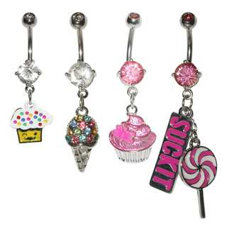 Supreme Jewelry 4-piece Girly Belly Ring Variety Pack