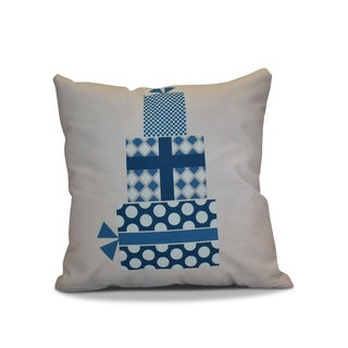 18 x 18-inch, Gift Wrapped, Geometric Holiday Print Pillow