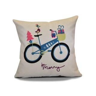 18 x 18-inch, Merry Bird Bike, Holiday Geometric Print Pillow