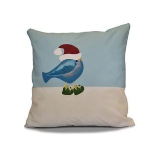18 x 18-inch, Merry Christmas Bird, Animal Holiday Print Pillow