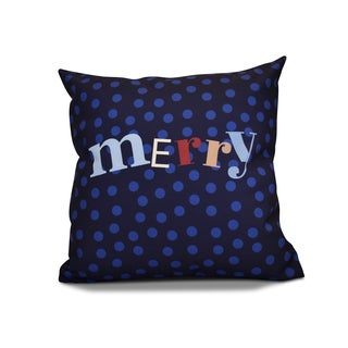 18 x 18-inch, Merry Dot, Holiday Word Print Pillow