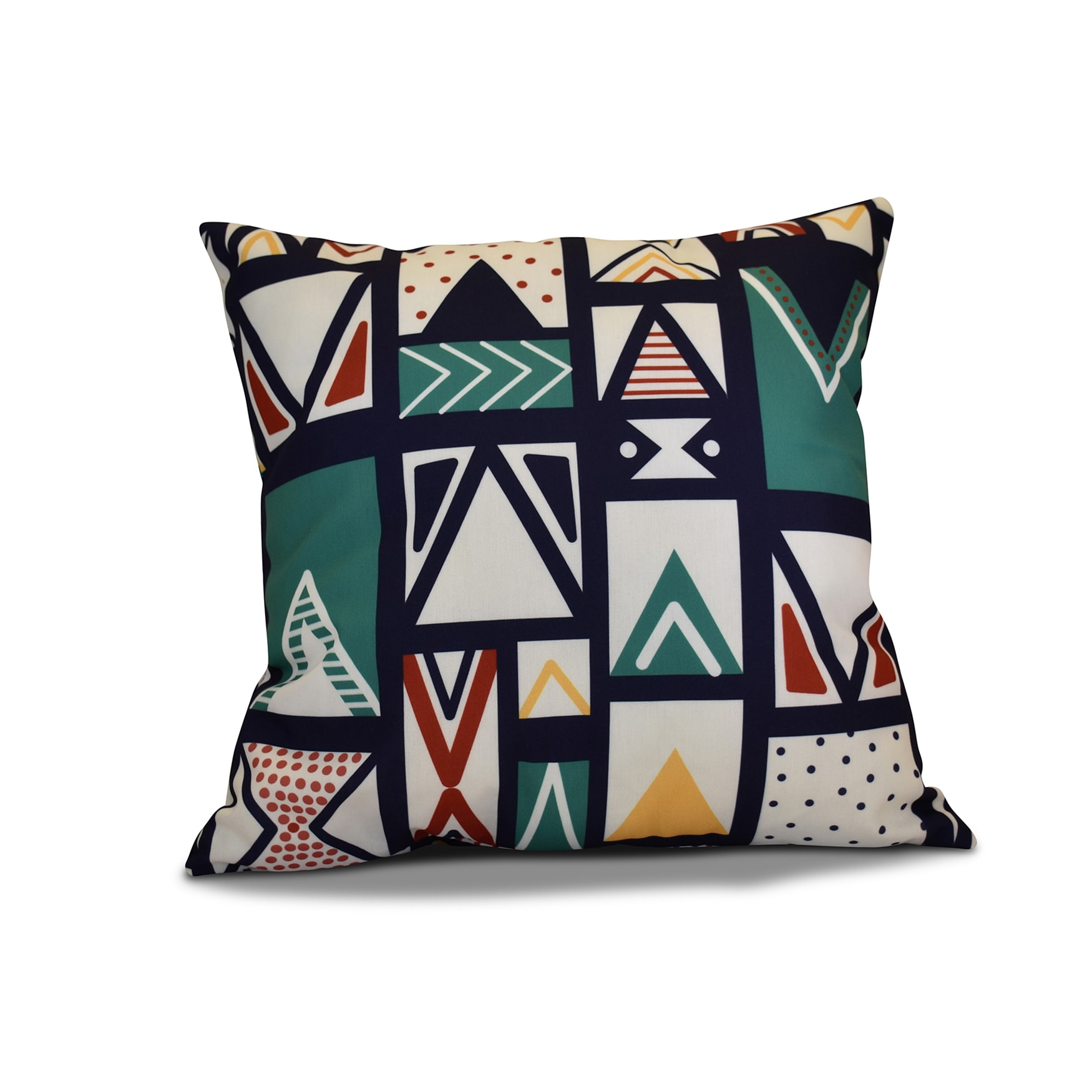 18 x 18-inch, Merry Susan, Geometric Holiday Print Outdoor Pillow (Navy Blue)