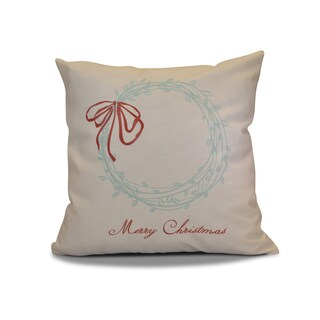 18 x 18-inch, Merry Wishes , Word Holiday Print Outdoor Pillow