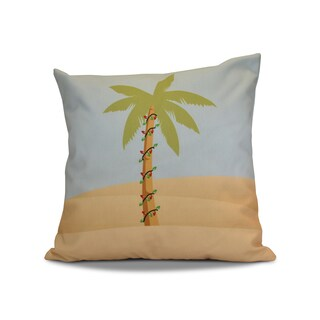 18 x 18-inch, Palm Tree with Christmas Lights, Geometric Holiday Print Outdoor Pillow