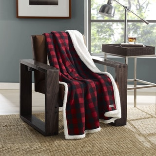 Eddie Bauer Cabin Plaid Flannel Sherpa Throw