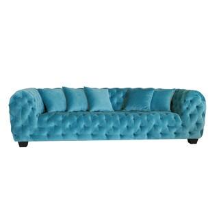 Casa Milano Collection Blue Cotton Velvet Button Tufted Sofa
