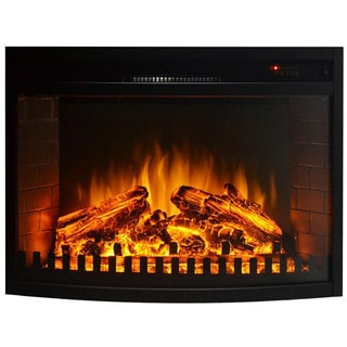 """Gibson Living 28"""" Curved Ventless Electric Space Heater Built-in Recessed Firebox Fireplace Insert"""
