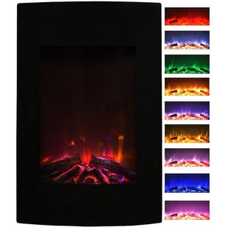 """Gibson Living Alpine Home Indoor 23"""" Multi Color Curved Black Wall Mounted Electric Fireplace"""