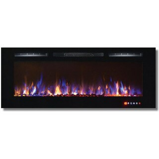 """Gibson Living Bombay 50"""" Crystal Recessed Touch Screen Multi-Color Wall Mounted Electric Fireplace"""