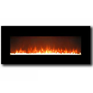 """Gibson Living Lawrence 50"""" Home Crystal Electric Wall Mounted Fireplace Black"""