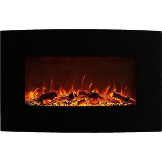"Gibson Living Neptune Home 35"" Logs Curved Black Wall Mounted Electric Fireplace"